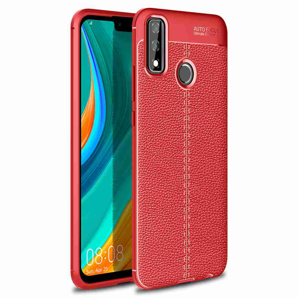 Leather Texture Carbon Fiber Phone Case for Huawei Y8s - Rosso Red