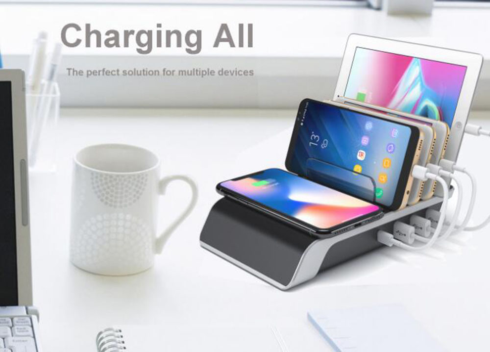 4 Port Multi-functional Support Wireless Charger Type-C Mobile Wireless Charging Cradle Multi-port Wireless Charger Stand - Black EU Plug