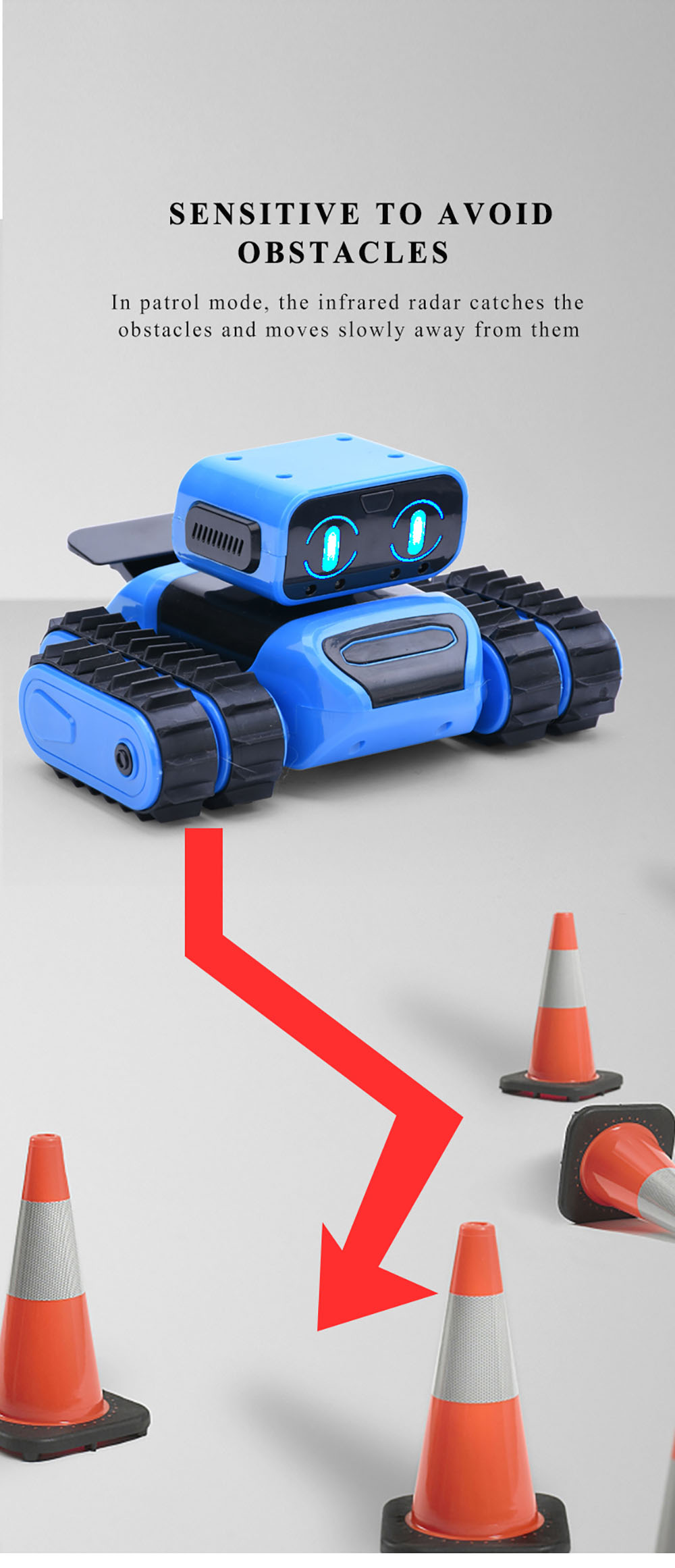 997 STEM DIY Remote Programming / Gesture Sensor Follow / Avoidance Stunt Function Robot Educational Toy Remote Control Version Dual Mode Version - Dodger Blue
