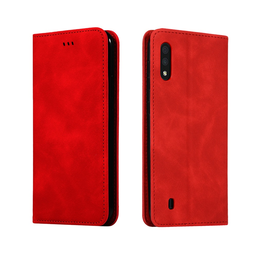 CHUMDIY Luxury Card Protection Leather Phone Case for Samsung Galaxy A01 - Lava Red