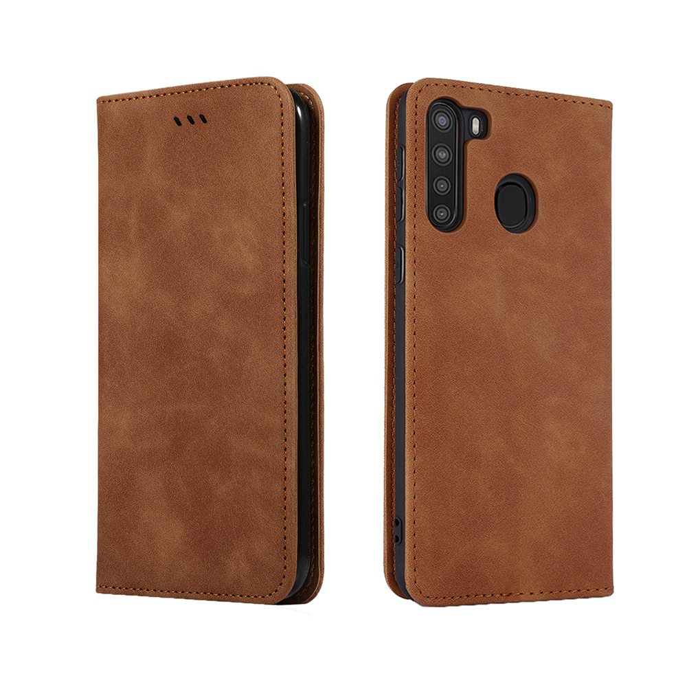 CHUMDIY Luxury Card Protection Leather Phone Case for Samsung Galaxy A21 - Brown