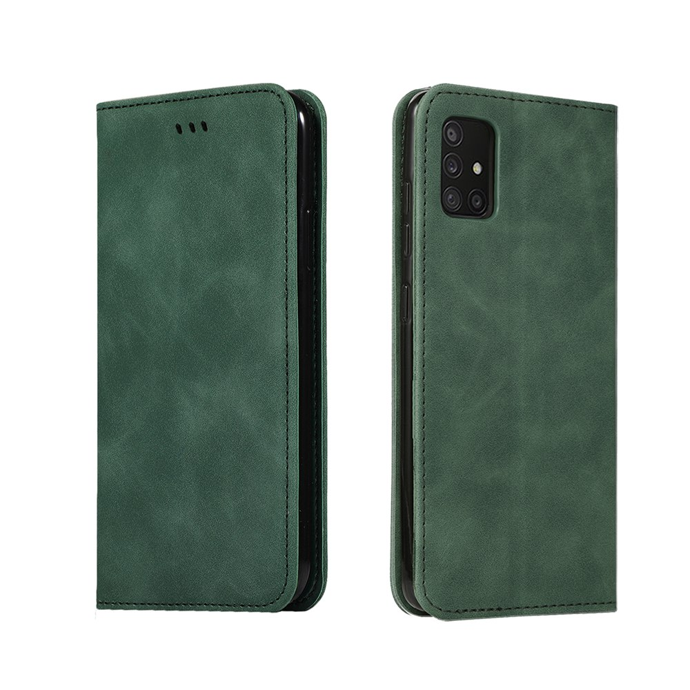 CHUMDIY Luxury Card Protection Leather Phone Case for Samsung Galaxy A71 5G - Dark Forest Green