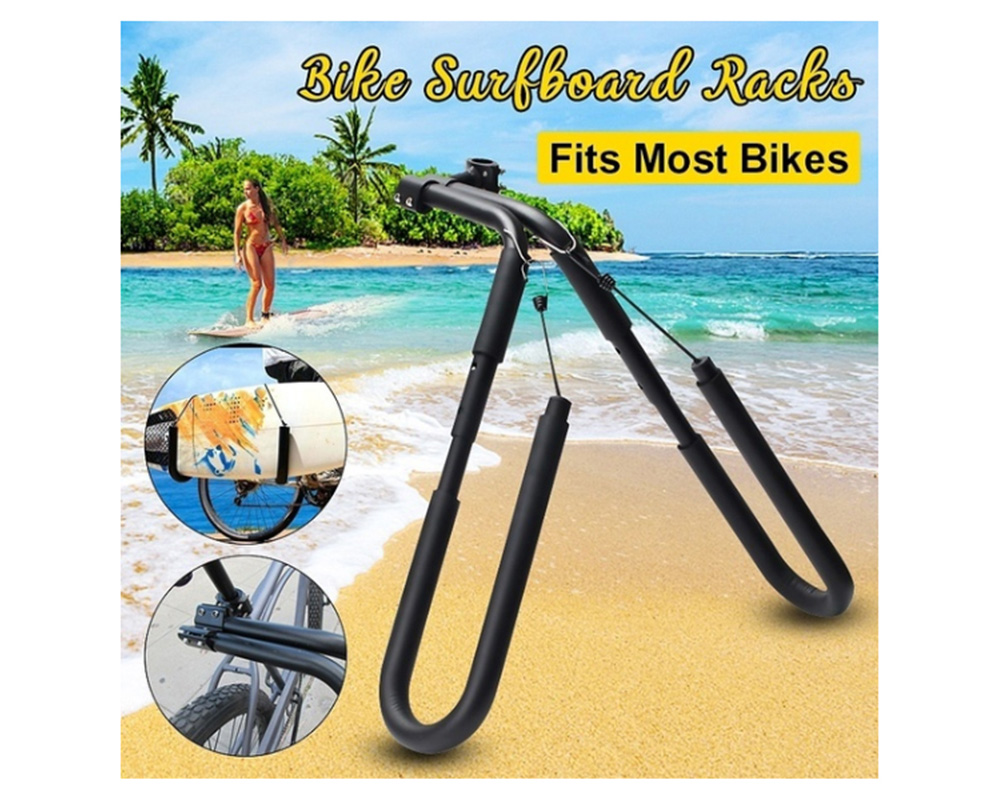 AU Stock Surfboard Bicycle Carrier Rack Bike Skimboard Side Kite Board Holder - Black