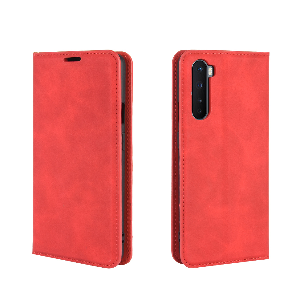 CHUMDIY Luxury Protection Magnetic Full Body Leather Phone Case for OnePlus Nord - Lava Red