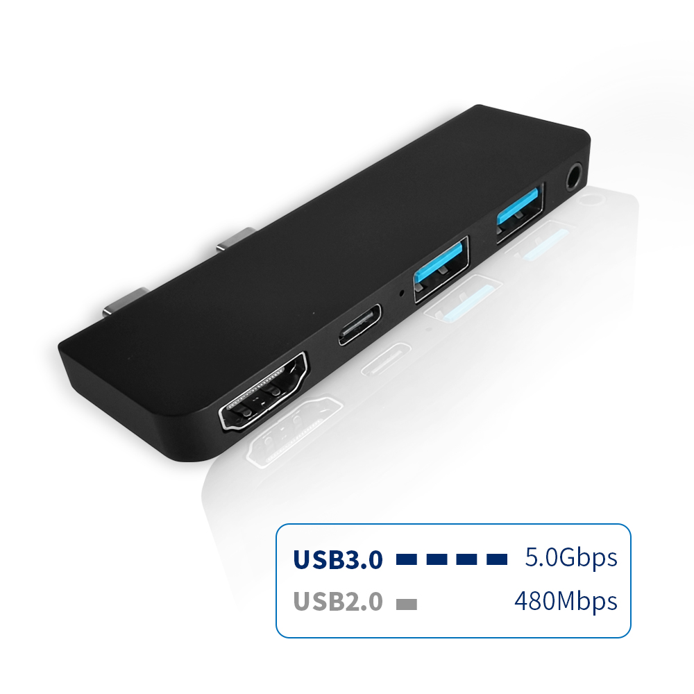 PX01 Aluminum Alloy 5-in-1 Two TYPE-C Connector Two USB3.0 Interface + PD Fast Charge + HDMI + 3.5mm Headphone Interface Microsoft Surface Pro X Dedicated Docking Station - Black