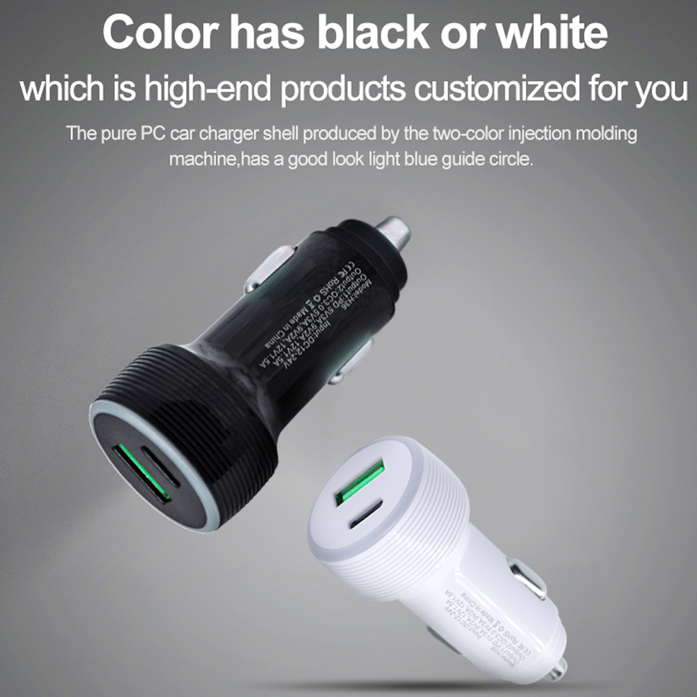 Dual Fast Charging PD3.0 + QC3.0 Car Fast Charger TYPE-C - White