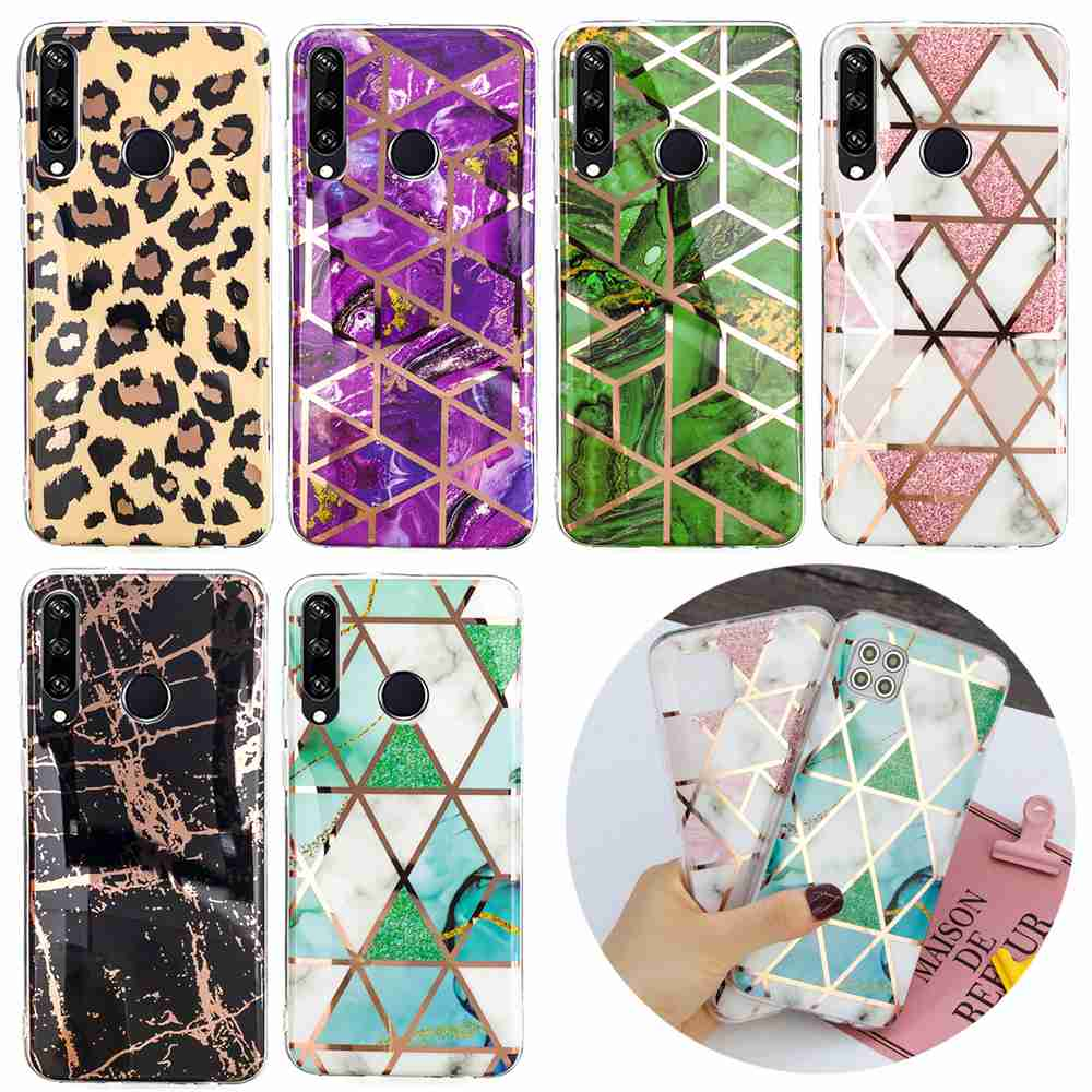 Electroplated Marble Process Phone Case for Huawei Y6P 2020 - Multi-F