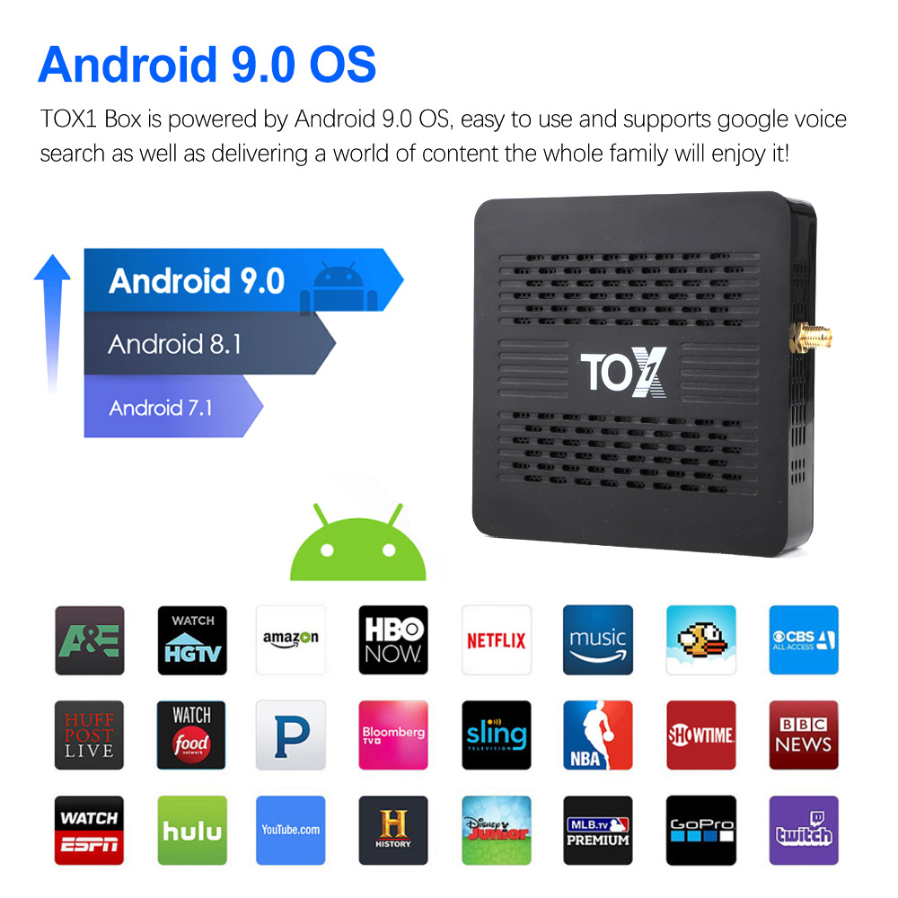 TOX1 Media Player Smart 4K TV Box Android 9.0 OS