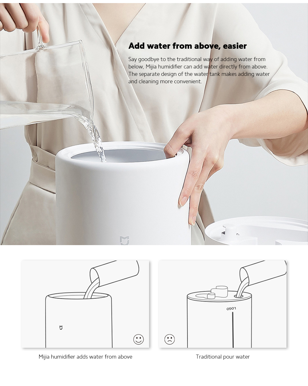 Xiaomi Mijia MJJSQ02LX Silver Ion Antibacterial Humidifier Add water from above, easier
