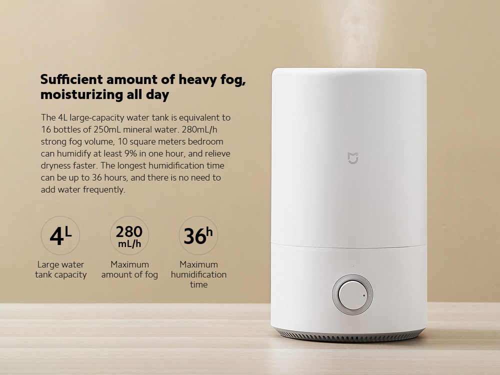 Xiaomi Mijia MJJSQ02LX Silver Ion Antibacterial Humidifier Sufficient amount of heavy fog, moisturizing all day