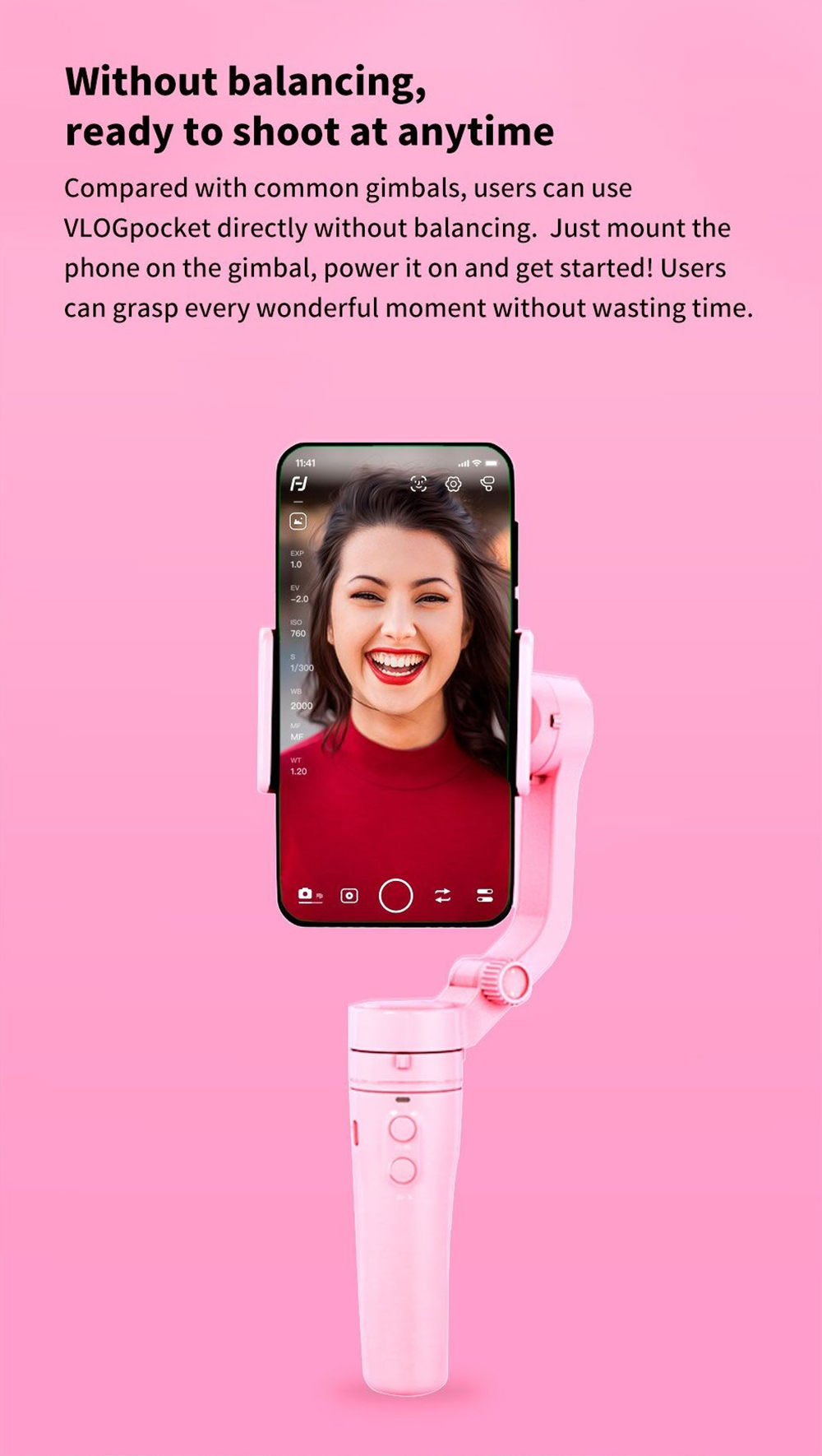 FeiyuTech Vlog Pocket Foldable 3-Axis Handheld Gimbal Smartphone Stabilizer Selfie Stick for iPhone 11 X XS / Samsung Note 9 - Pink
