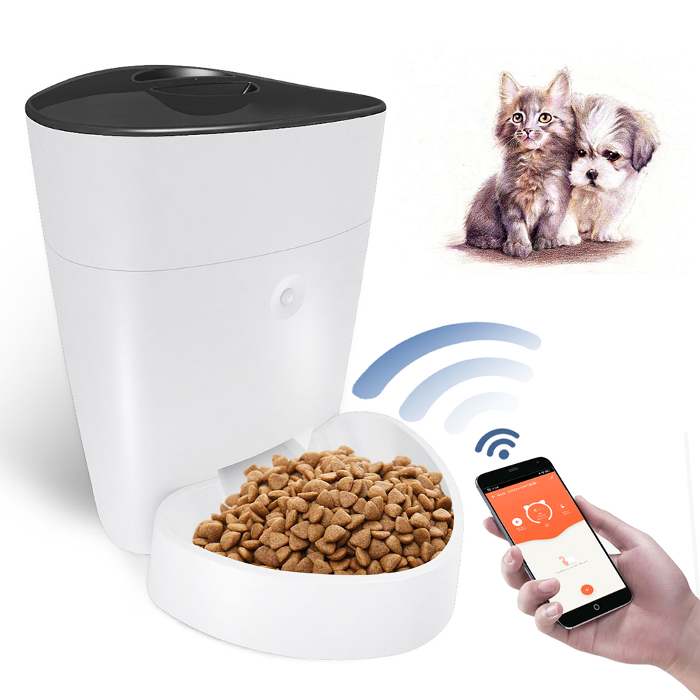 SPF-1010-TY Automatic Pet Feeder / Food Dispenser for Cats Dogs Pets Programmable Wi-Fi Remote Control Pet Feeder with LCD Display - White