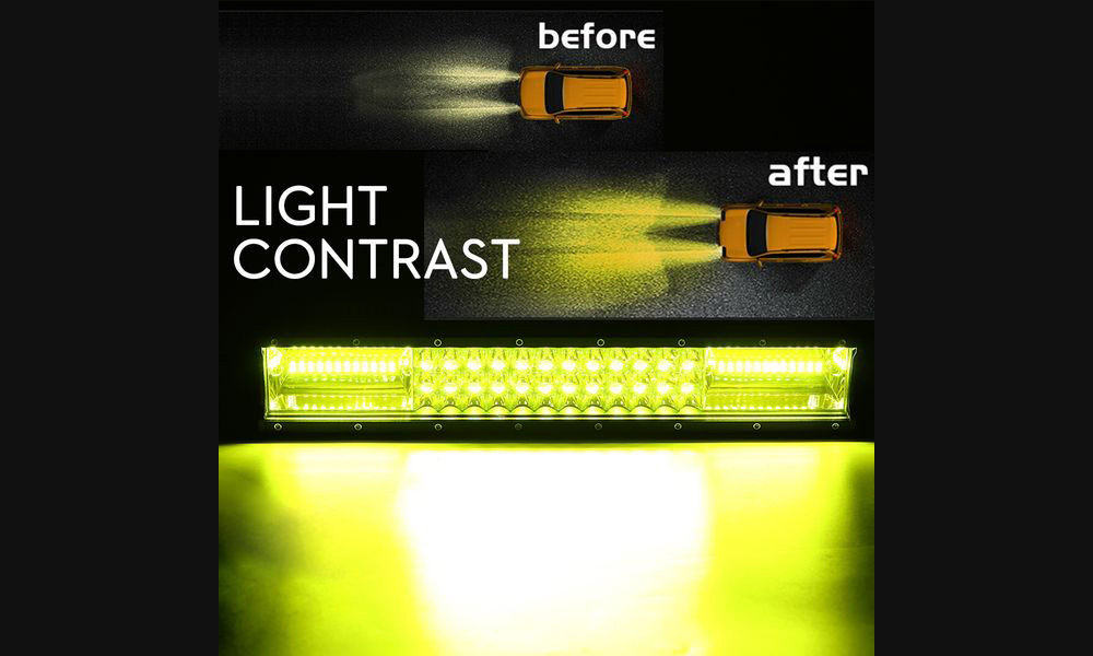 16 inch Car LED Strip Light Three Row 72LEDs 432W Off-Road Vehicle Working Lamp - Yellow