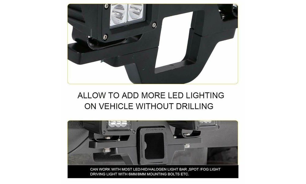 Trailer Towing Hitch Receiver Mounting Bracket + 4 inch LED Light Bar Reverse Off-road Truck - Black
