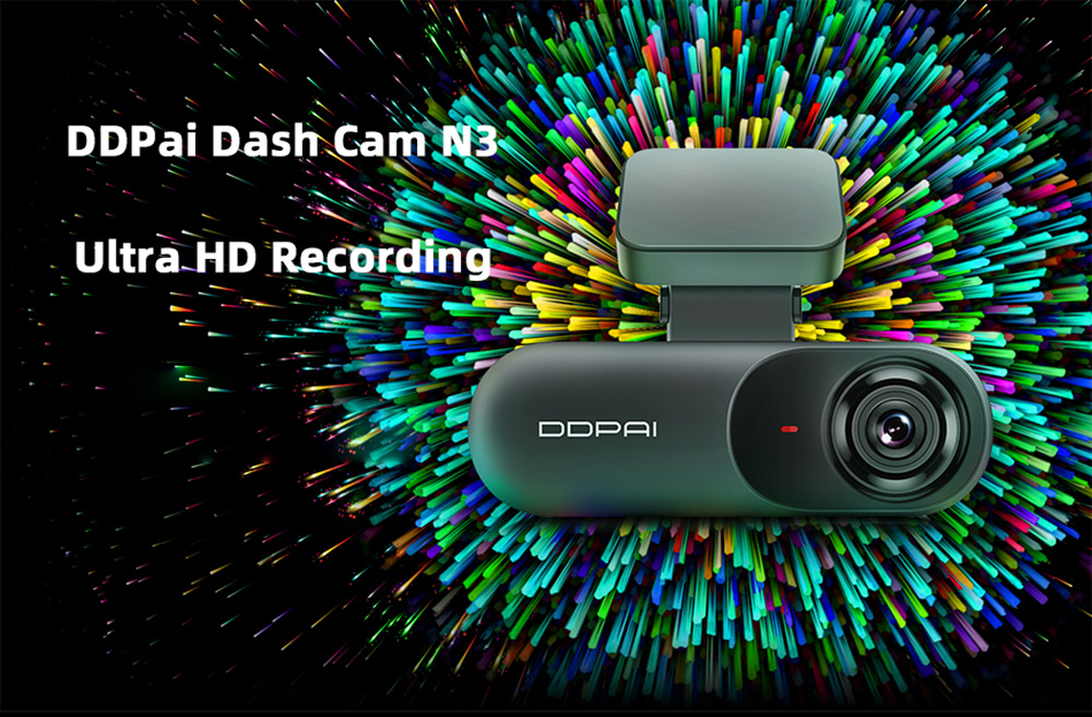 DDPai N3 Dash Cam 1600P HD Vehicle Drive Auto Video Car DVR - Black