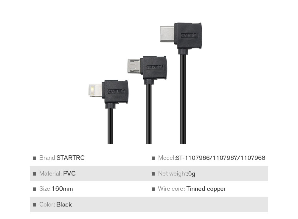 STARTRC Remote Controller Phone Tablet Bidirectional Transmission Connection Specific Data Cable 16cm for DJI Mavic Air 2 - Black 8-Pin