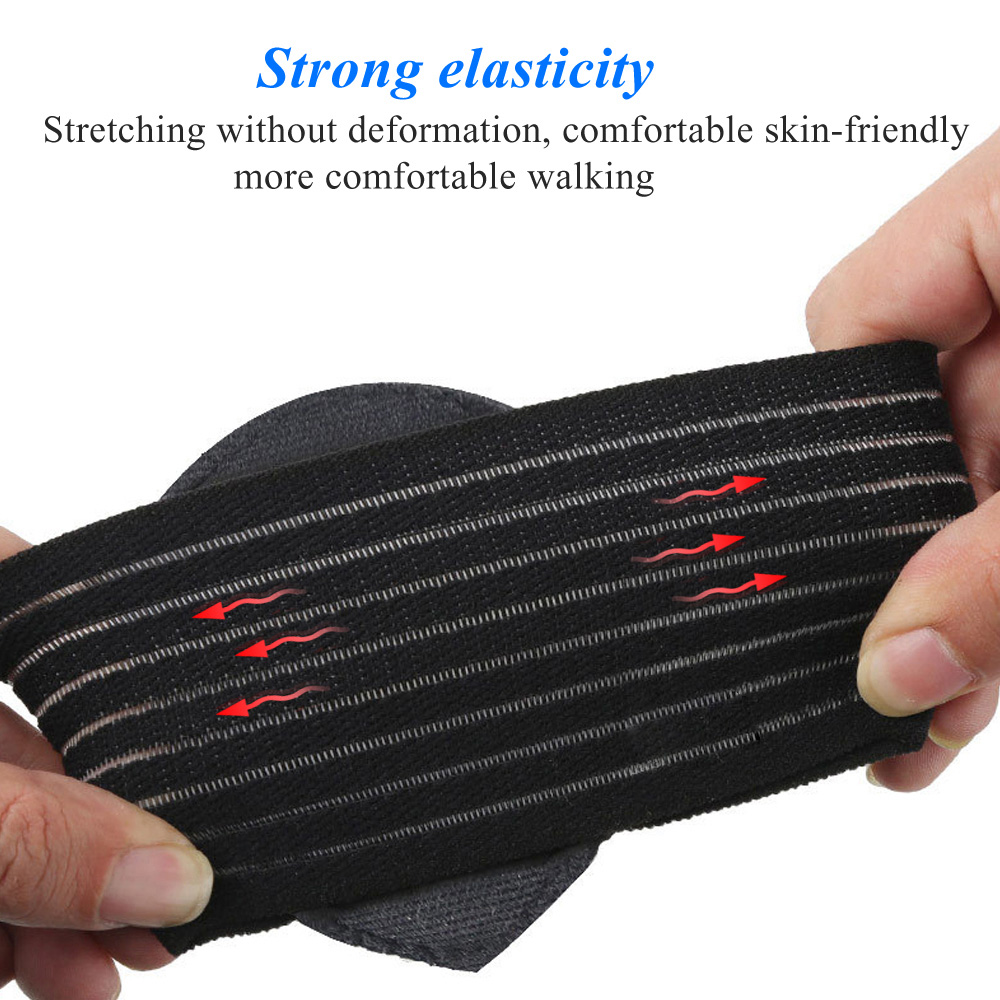 Foot Arch Support Insoles Feet Heel Pain Relief Plantar Run-up Pad Feet Soles Care Cushioned Shoes Insert One Pair - Black