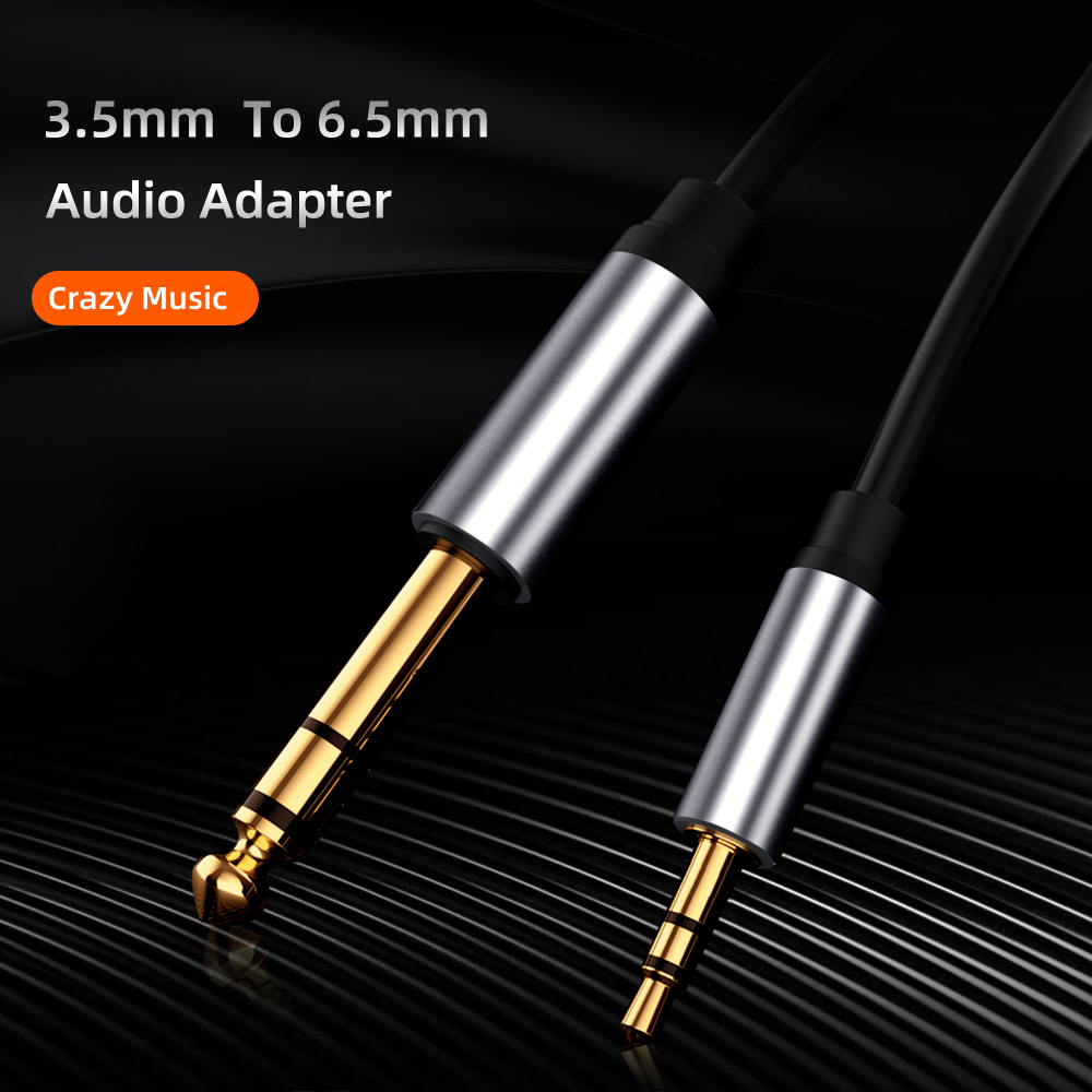 3.5mm to 6.35 Audio Cable TRS Stereo Phone Notebook Tablet Speaker Audio Power Discharge Guitar 6.35mm Audio Line - Carbon Gray 1M