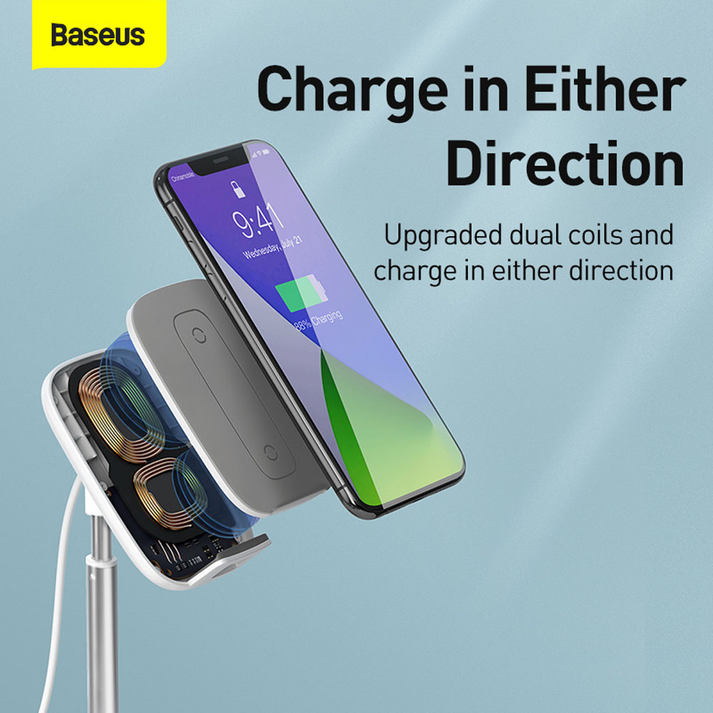 Baseus Literary Youth Desktop Bracket (Telescopic + Wireless Charging) - Silver