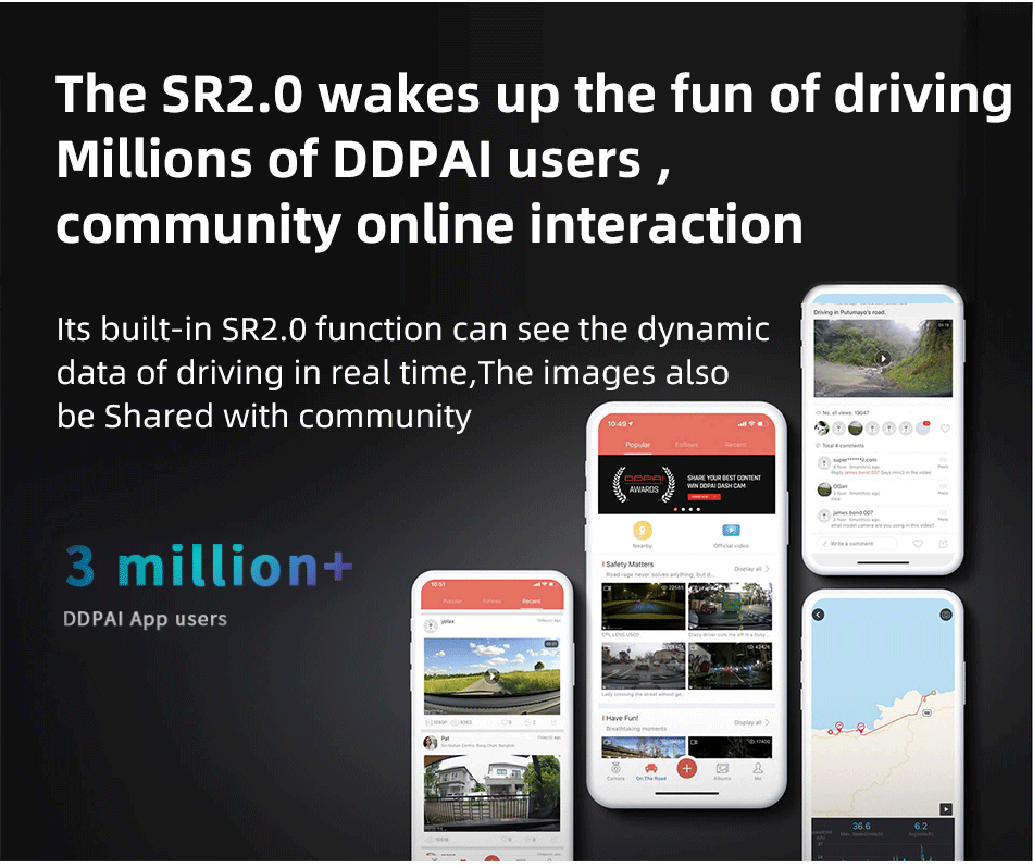DDPAI MINI 5 2160P 4K Built In 64GB EMMC Dash Cam Car DVR The SR2.0 wakes up the fun of driving Millions of DDPAL users community online interaction