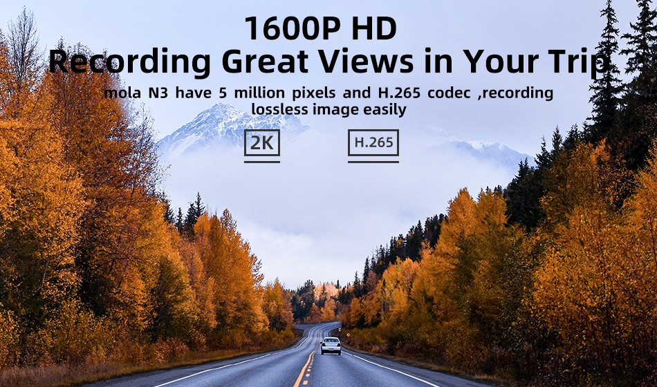 DDPai N3 Dash Cam 1600P HD Recording Great Views in Your Trip
