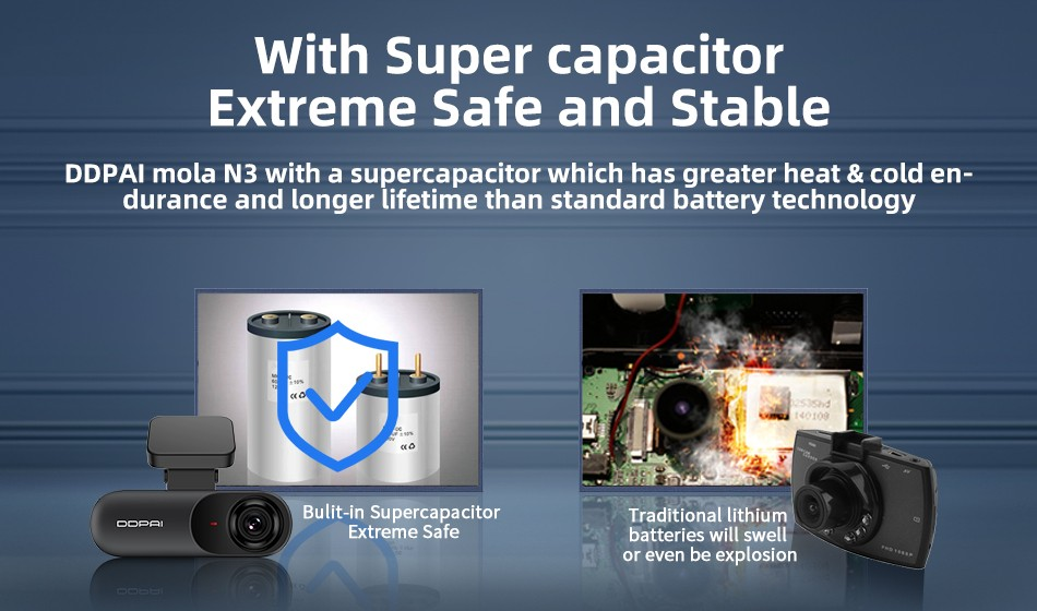 DDPai N3 Dash Cam With Super capacitor Extreme Safe and Stable