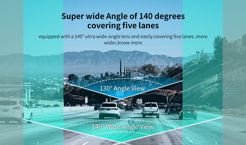 DDPai N3 Dash Cam Super wide angle of 140 degrees covering five lanes