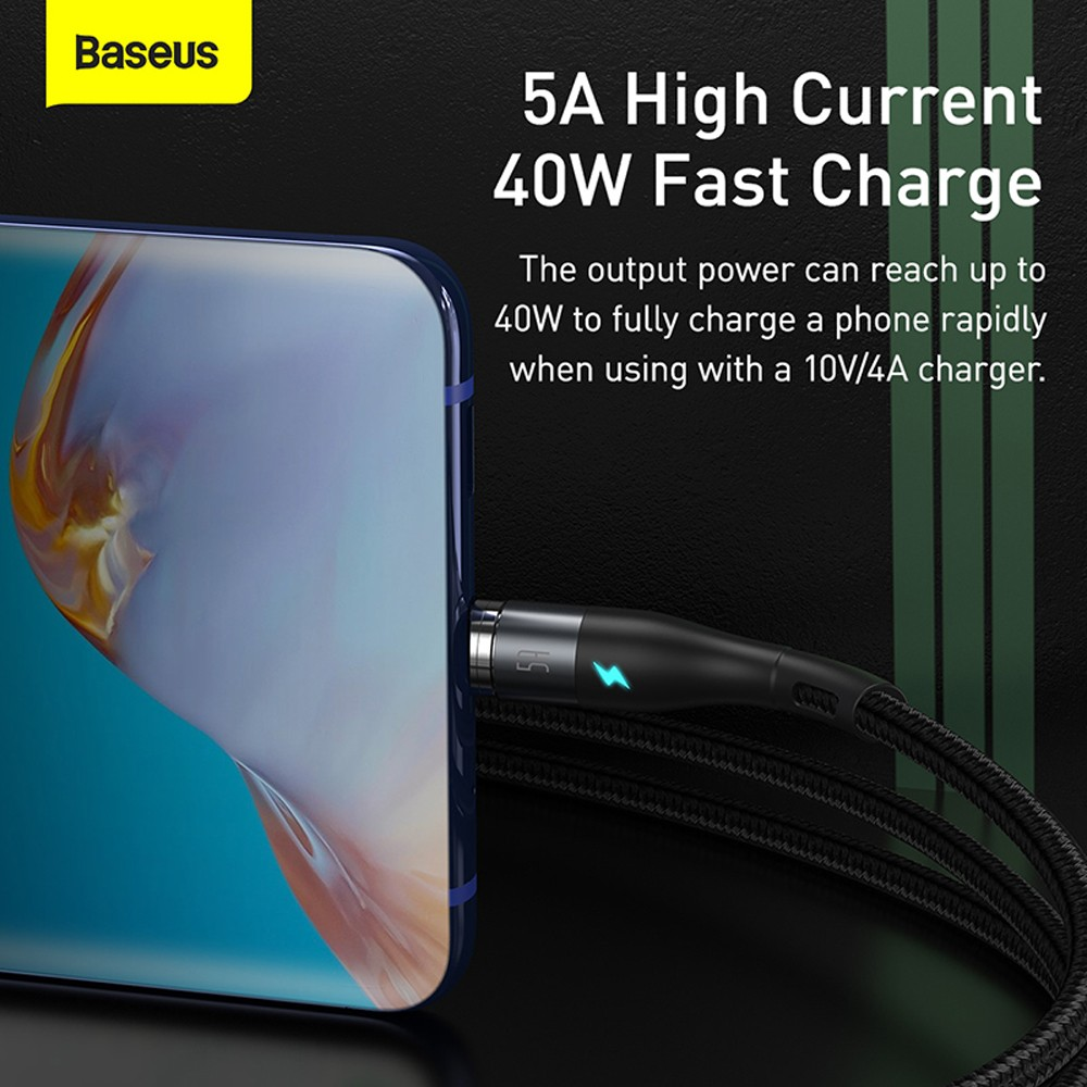 Baseus Zinc Magnetic Safe Fast Charging Data Cable USB to Type-C 5A 1M - Black