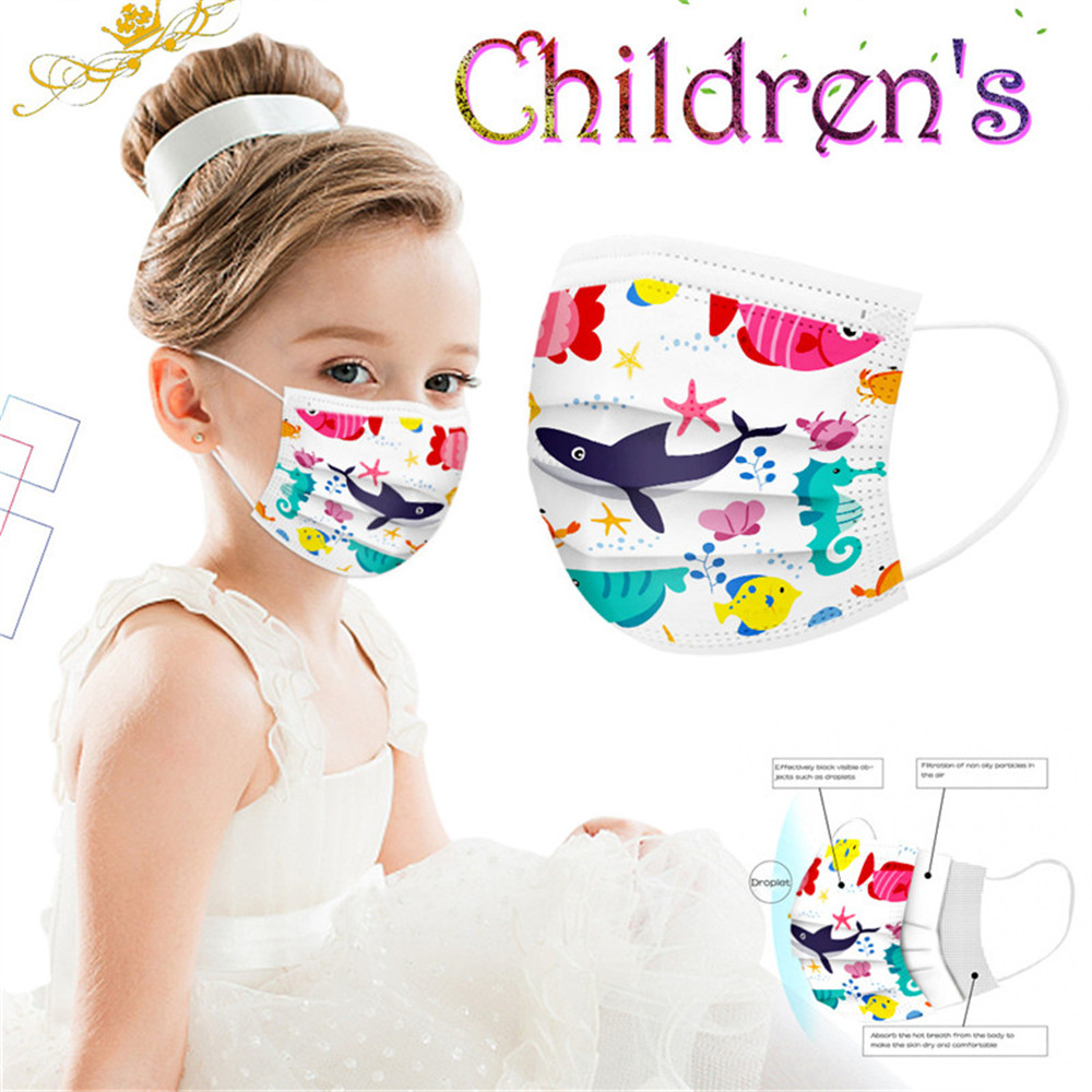 Children Disposable Mask Kids 3-Ply Anti-dust Face Masks Cute - Multi-C