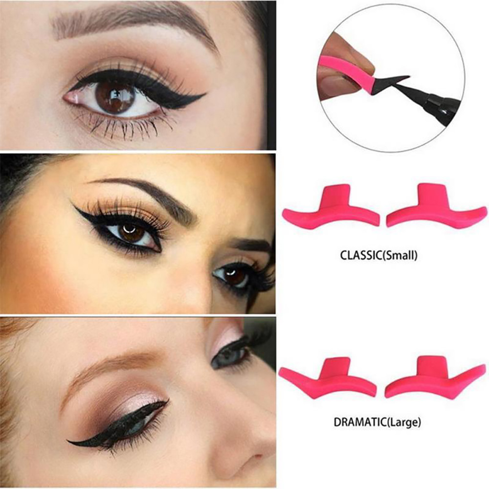 Silicone Eyeshadow Stamp Eyeliner Tail Seal (Classic + Dramatic) 2 Pair - Rose Red