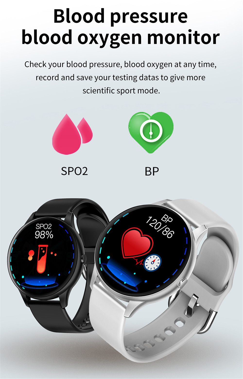 K21 1.3 inch Full Touch Round Screen Smart Watch Body Temperature Detection Heart Rate Blood Pressure Monitoring Sports Waterproof Bluetooth Health Smartwatch - Black