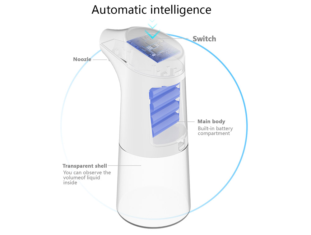 SD-01 Infrared Sensor Automatic Hand Foam Liquid Soap Dispenser 350ml - Milk White Gel Type