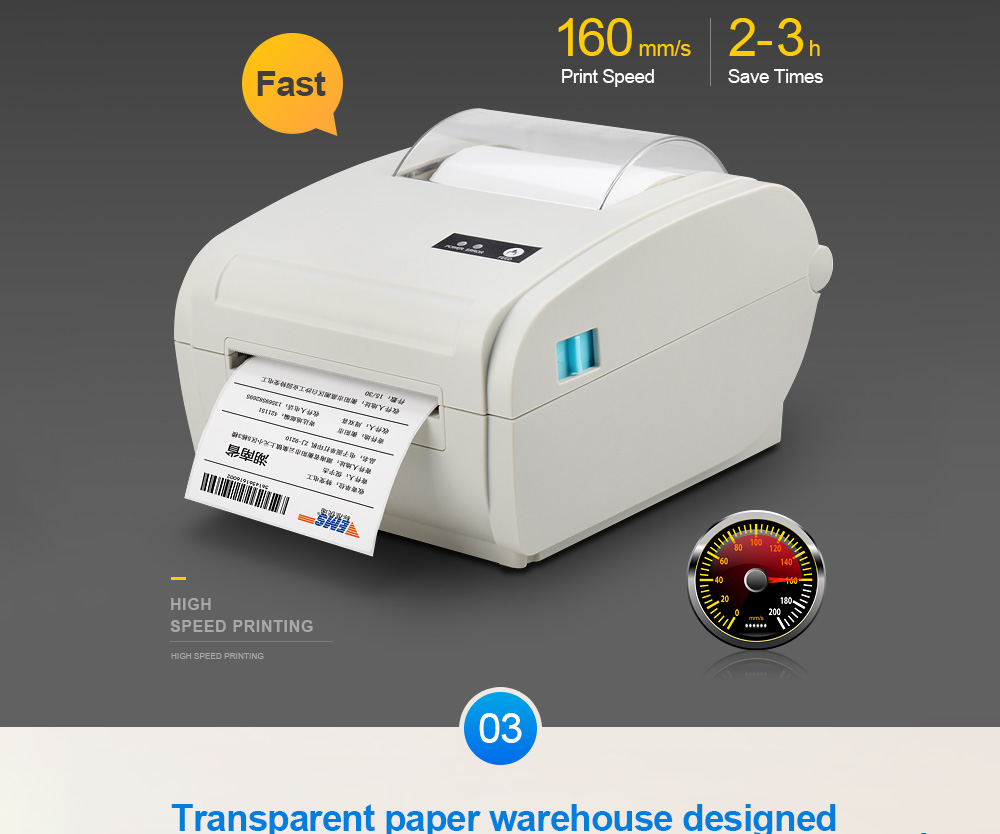 ZJ-9210 Printer Express Single Electronic Side Single Bluetooth Phone Computer Printing USB Courier Thermal Paper Label Printing - Platinum