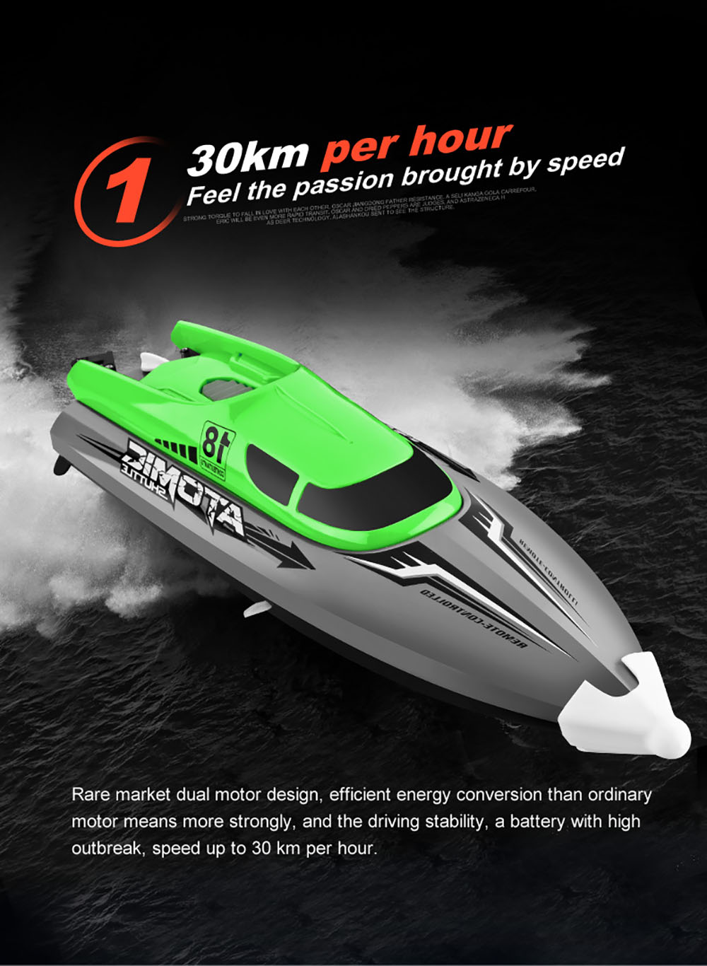 601 2.4G High-speed Remote Control Boat Capsize Reset Pull Water-cooled Cooling Water Games Boats Fishing Toys - Green One Battery