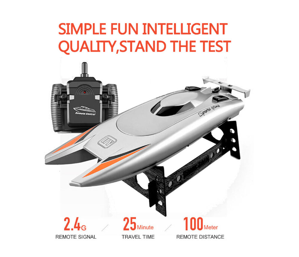 Upgraded Version 2.4G Remote Control Boat Speed Boat Yacht Race Boat Toys for Children - Black