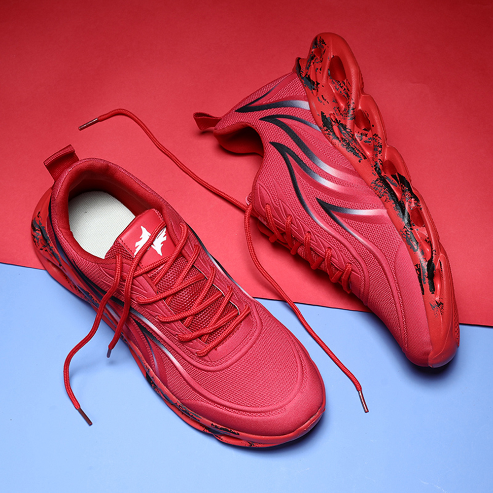 New Men Models Breathable Running Shoes Comfortable Fashion Shoes Sports Shoes - Red EU 43