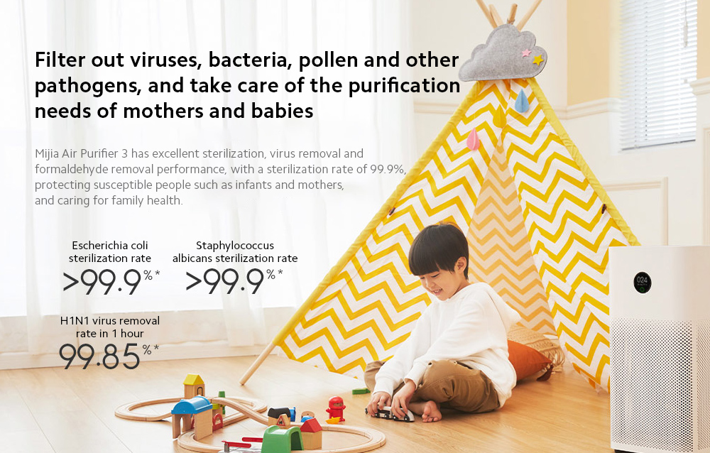 Xiaomi Mijia AC-M6-SC Air Purifier 3 Filter out viruses, bacteria, pollen and other pathogens