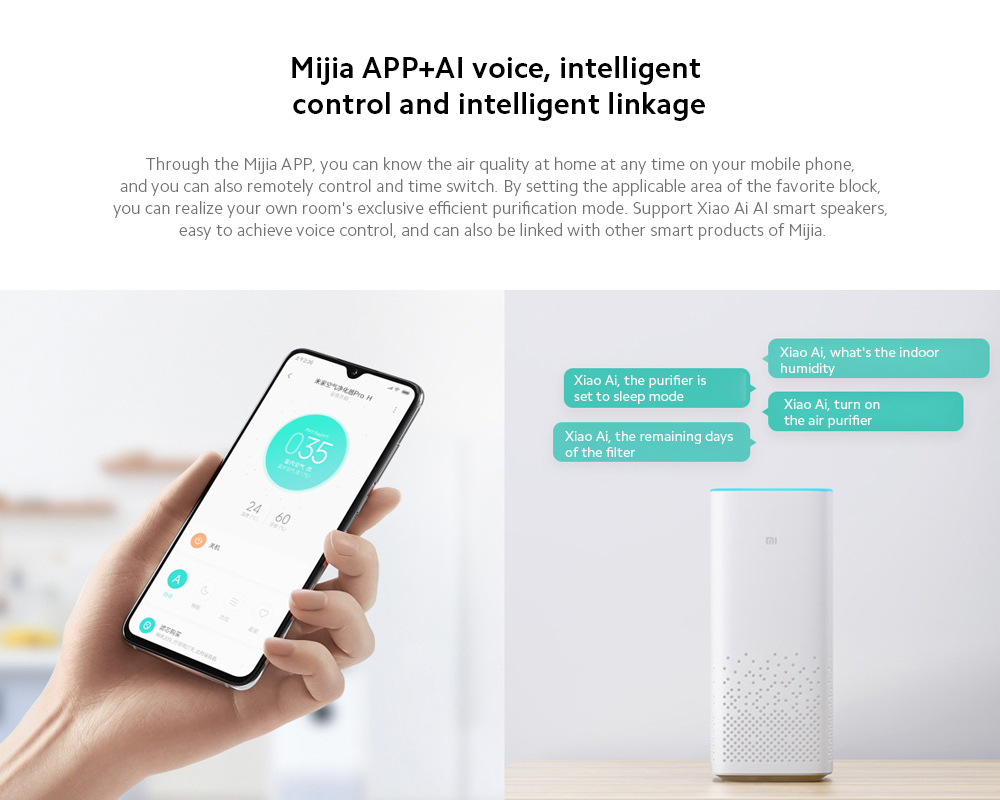 Xiaomi Mijia AC-M6-SC Air Purifier 3 Mijia APP+AI voice, intelligent control and intelligent linkage