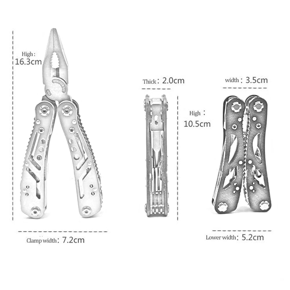 Outdoor Camping Folding Pliers Multipurpose Tool Jaw Multi Tool - Silver