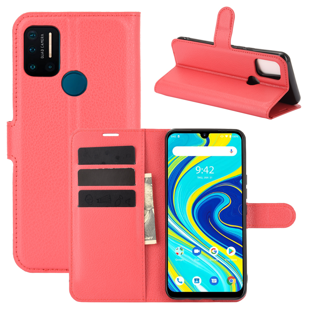 CHUMDIY Luxury Card Protection PU Leather Phone Case for UMIDIGI A7 Pro - Red