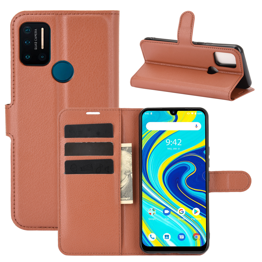 CHUMDIY Luxury Card Protection PU Leather Phone Case for UMIDIGI A7 Pro - Brown