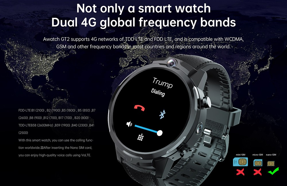 ALLCALL GT2 Watch Phone Network Bands