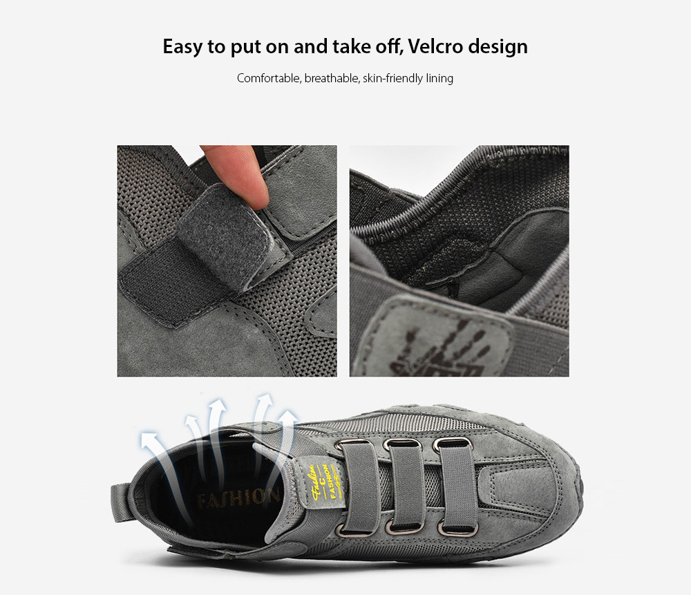 Men Round Toe Leather Shoes Easy to put on and take off, Velcro design