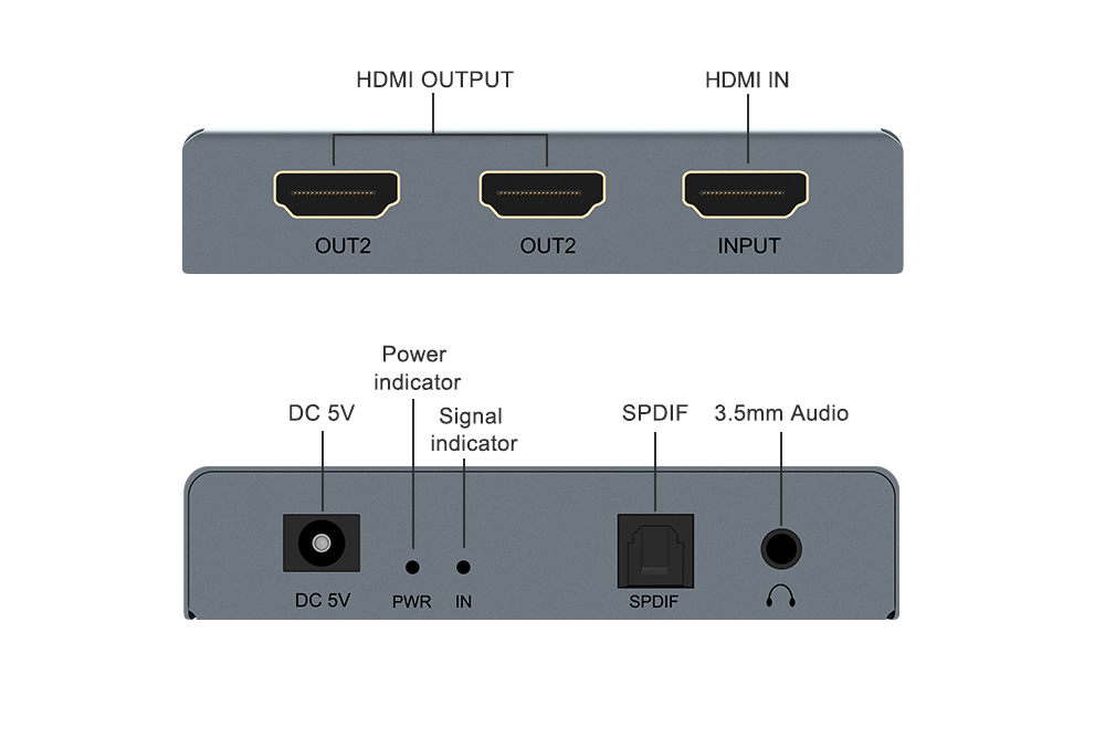 4K HDMI One Input Two Output + Audio Splitter Extractor Converter - Silver