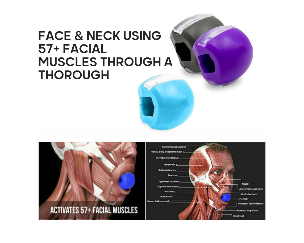 Jaw Exerciser Neck / Face Tone Jaw Line Exercise Jaw Toning Define Jawline and Facial Toner - Sky Blue