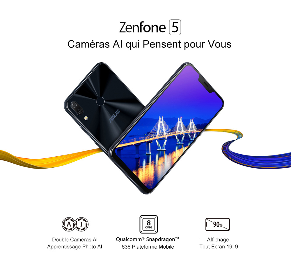 ASUS ZENFONE 5 4G Phablet 6.2 inch Android O Qualcomm Snapdragon 636 Octa Core 1.8GHz 4GB RAM 64GB ROM 12.0MP + 8.0MP Rear Camera Fingerprint Sensor 3300mAh Built-in   - Silver