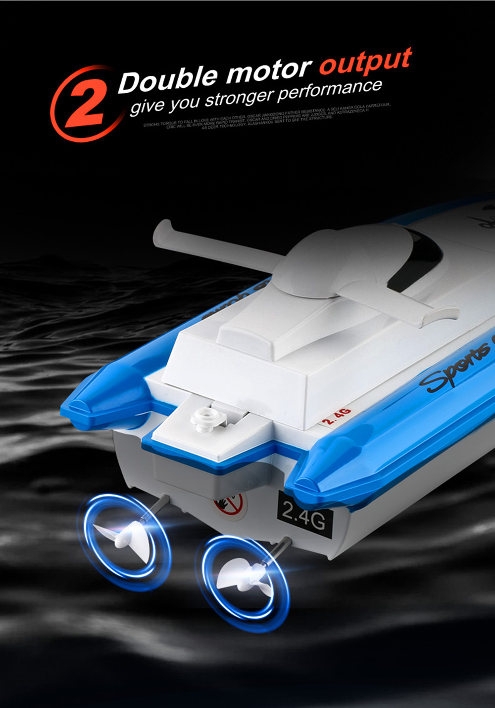 2.4G RC Boat High-speed Speed Boat Yacht Children Racing Boat Water Toy Upgraded Version - Red One Battery