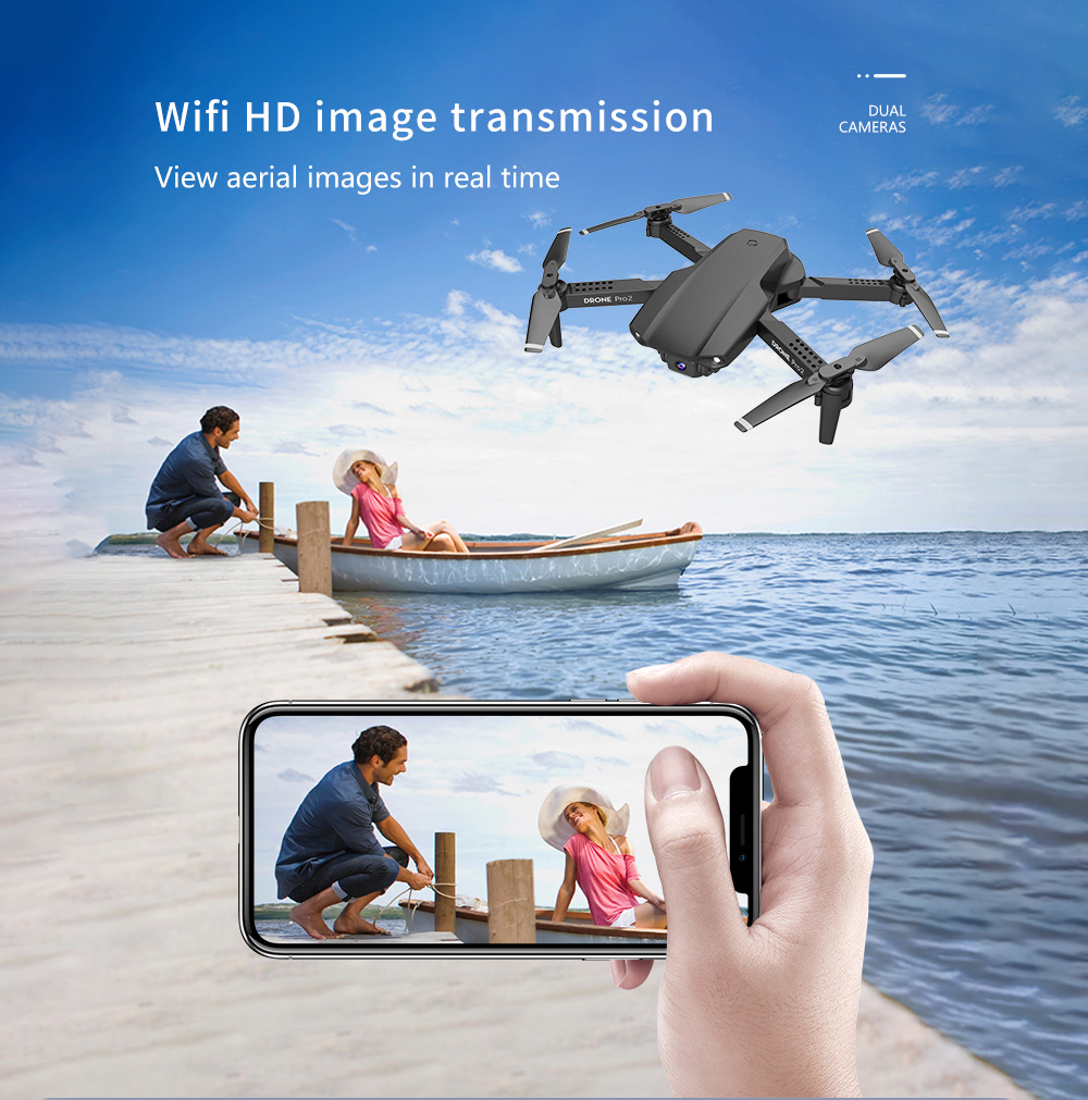 E99 Pro RC Quadcopter Toy - Gray 1080P One Gray Battery