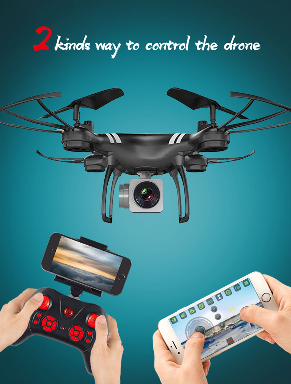 KY101 RC Drone Toy Aerial Photography Quadcopter Fixed High WiFi Real-time Image Transmission Remote Control Aircraft - Black 720P One Battery