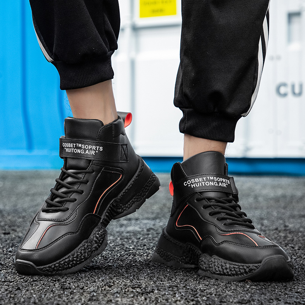 High-Top Sneakers Outdoor Casual Boots Trend Sneakers Fashion Men Shoes - White EU 40